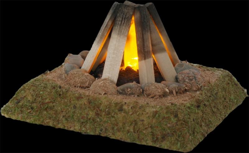 Lagerfeuer Hirtenfeuer 9cm mit LED 3,5V Modellbau Krippenbeleuchtung Krippen