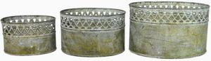 Set 3-tlg. Metallschale oval 14x10xH8,5 / 17,5x12xH11 / 21x14,5xH13cm grün
