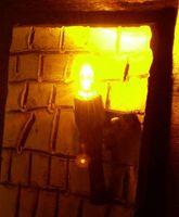 Krippenbeleuchtung - Set 3-tlg. Holzfackeln für Krippen, nussbaumfarben h=4,5 cm – Bild 2