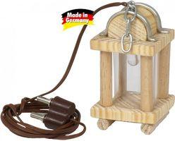Krippenbeleutung - Holzlaterne mit Zinnbeschlägen 3x3x5cm, mit LED für Krippen