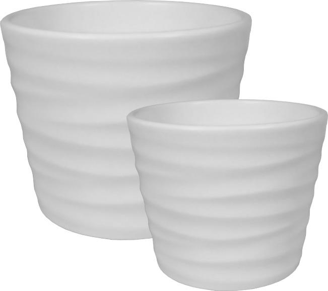 Keramik-Übertopf Wave - Weiss-matt