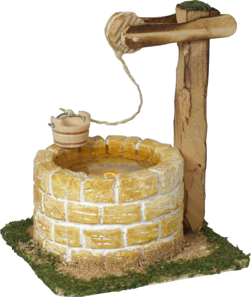 Krippenbeleuchtung - Hirtenbrunnen beleuchtet mit Wasserimitat - Sandsteinfarben