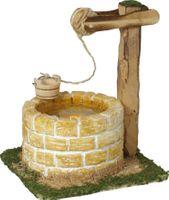 Krippenbeleuchtung - Hirtenbrunnen beleuchtet mit Wasserimitat - Sandsteinfarben – Bild 1