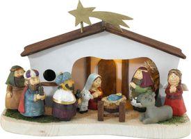 Weihnachtskrippe für Kinder incl. Figuren, Beleuchtung und Spielwerk – Bild 1