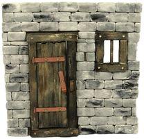 Krippenzubehör Holztür mit Fenster - dunkel – Bild 1