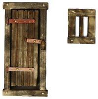 Krippenzubehör Holztür mit Fenster - dunkel – Bild 3