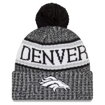 New Era NFL DENVER BRONCOS Authentic 2018 Black/White Sideline Sport Knit Wintermütze