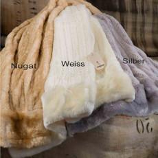 Eskimo Webpelz Hermelin Plaid nugat 130 x 170 cm