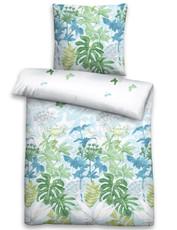 Biberna Linon Bettwäsche 44634-221 Natur blau mit Reißverschluss aus 100% Baumwolle