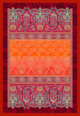Bassetti Plaid GRAN PARADISO V1 rot 135 x 190 Ornamente mediterran gesteppt.