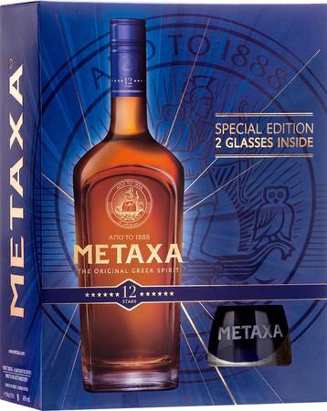 METAXA 12* - 1x0,7L 40% vol. Geschenkset / Gift Set + 2 Tumbler