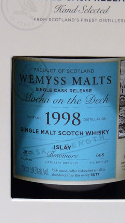 "WEMYSS MALTS - BOWMORE 18y. 1998 - ""MOCHA ON THE DECK"" - 59,3%vol. 1x0,70L 668 Bottles – Bild 2"