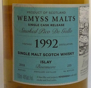 "BOWMORE 26y. 1992 - ""SMOKED PICO DE GALLO"" - 46%vol. 1x0,70L 235 Bottles – Bild 3"