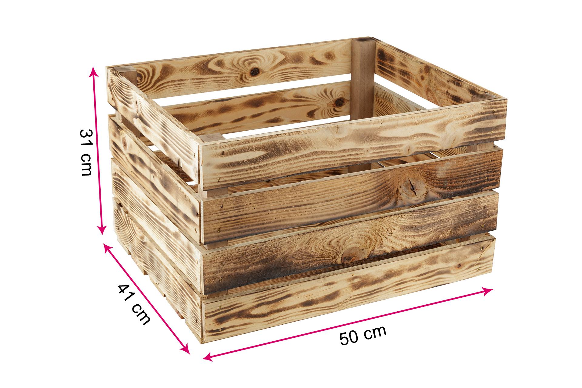 Caja de Vino Caja de le/éa Caja Decorativa,Vintage Shabby Chic Retro GrandBox Set de 4 Natural-Box Caja de Madera flameada Caja de Frutas