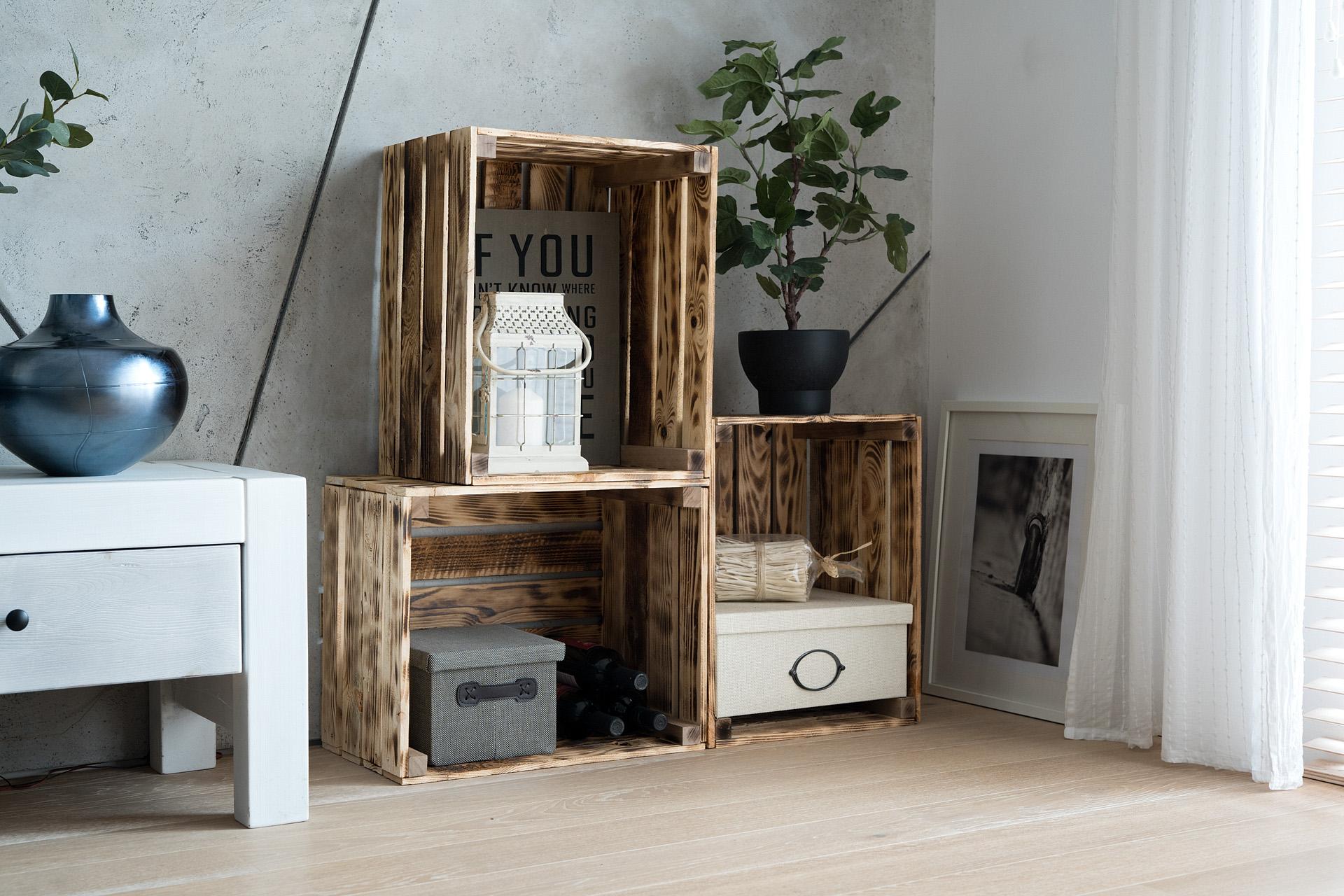 Caisse De Vin Déco caisse en bois flammé flame-box, caisse à vin, caisse à fruits, caisse de  décoration, rangement vintage shabby chic, caisse à bois de chauffage