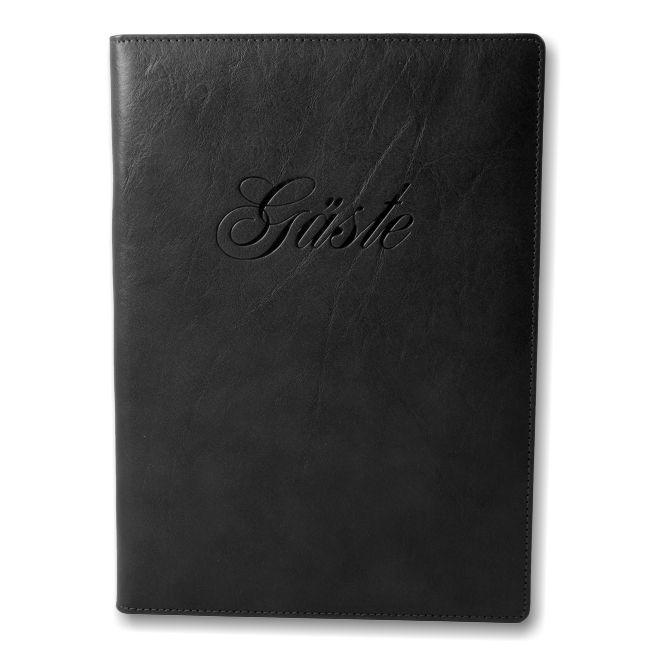 Gästebuch Rustico Leder schwarz – Bild 1