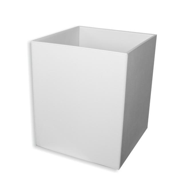 Papierkorb Kunstleder weiß – Bild 1