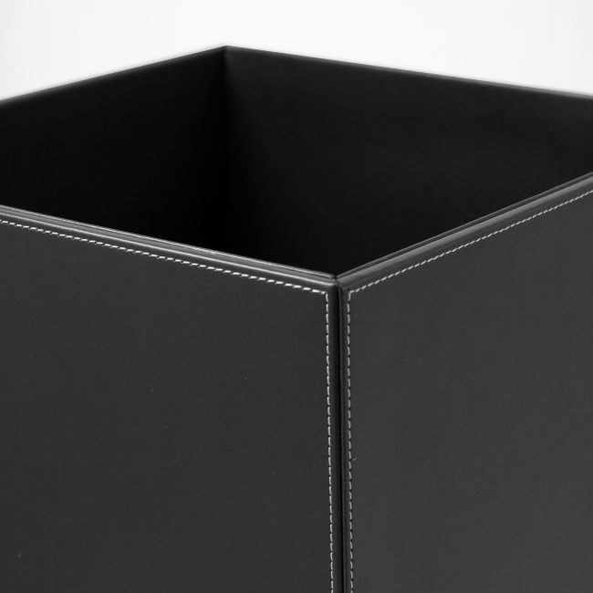 Papierkorb Kunstleder schwarz – Bild 2