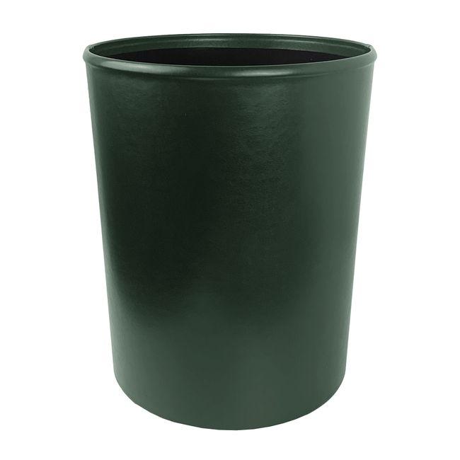Papierkorb Klassik Leder grün – Bild 1