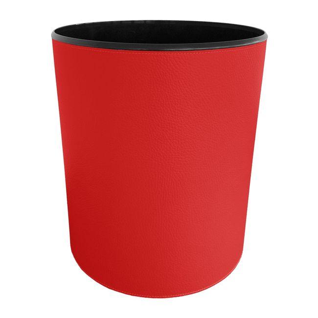 Papierkorb strukturiert Leder rot – Bild 1