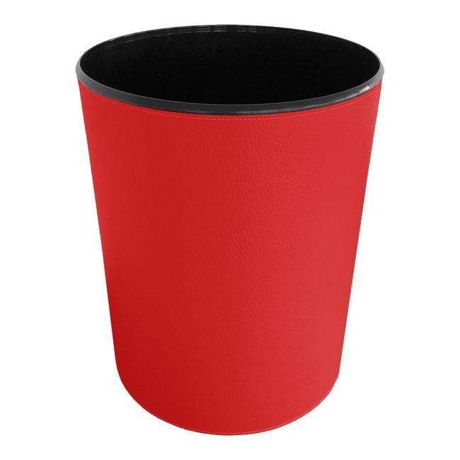Papierkorb strukturiert Leder rot – Bild 2