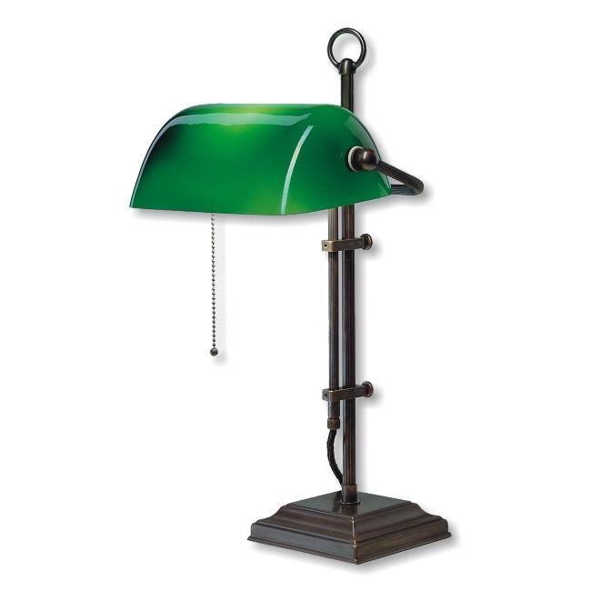 Bankers Lamp Antik Schirm grün