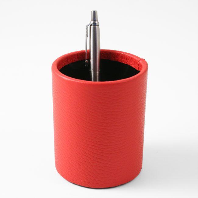 Stifteköcher Leder rot – Bild 2