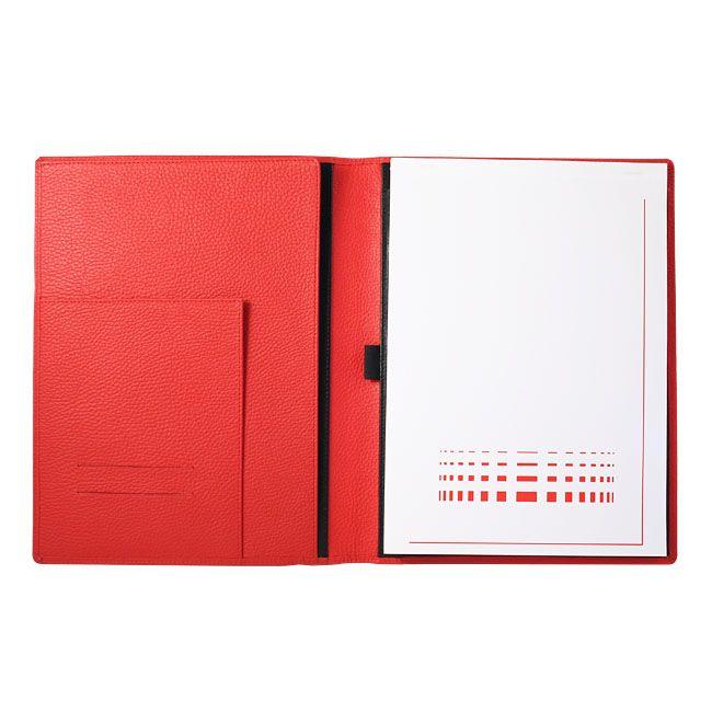 A4 Schreibmappe Leder rot – Bild 2