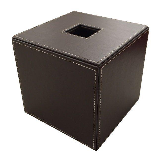 Papiertuchbox Kunstleder quadratisch braun