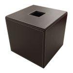 Papiertuchbox Kunstleder quadratisch braun 001