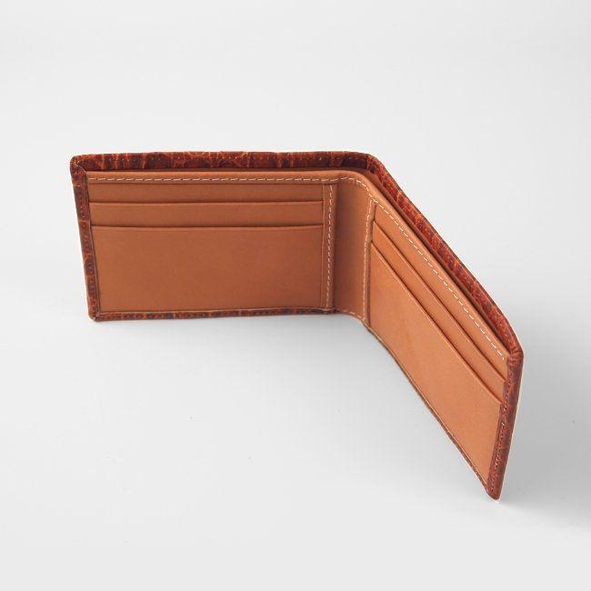 Kartenetui mit Geldscheinfach Leder Krokoprägung – Bild 2