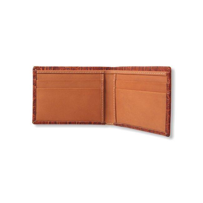Kartenetui mit Geldscheinfach Leder Krokoprägung – Bild 3