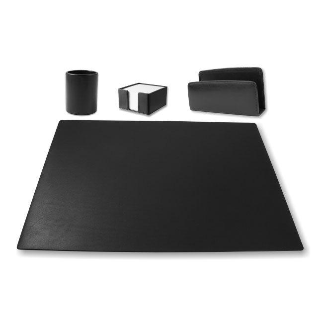 Schreibtischgarnitur Klassik Leder schwarz – Bild 1