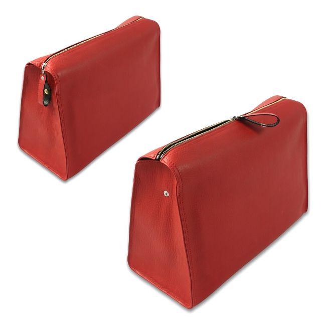 Kulturtasche Chervo Kalbleder rot – Bild 2