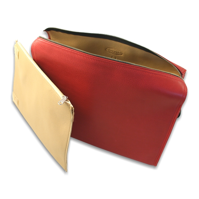 Kulturtasche Chervo Kalbleder rot – Bild 4