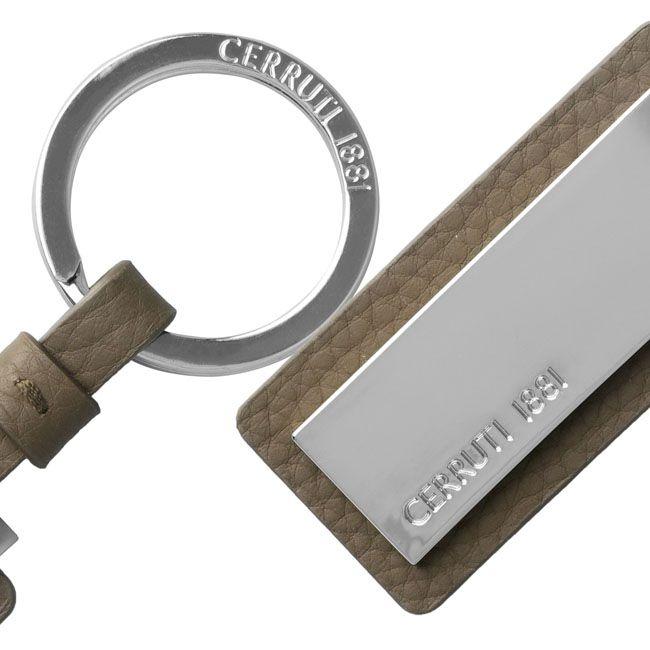 Cerruti 1881 Schlüsselring Hamilton Taupe Leder – Bild 5