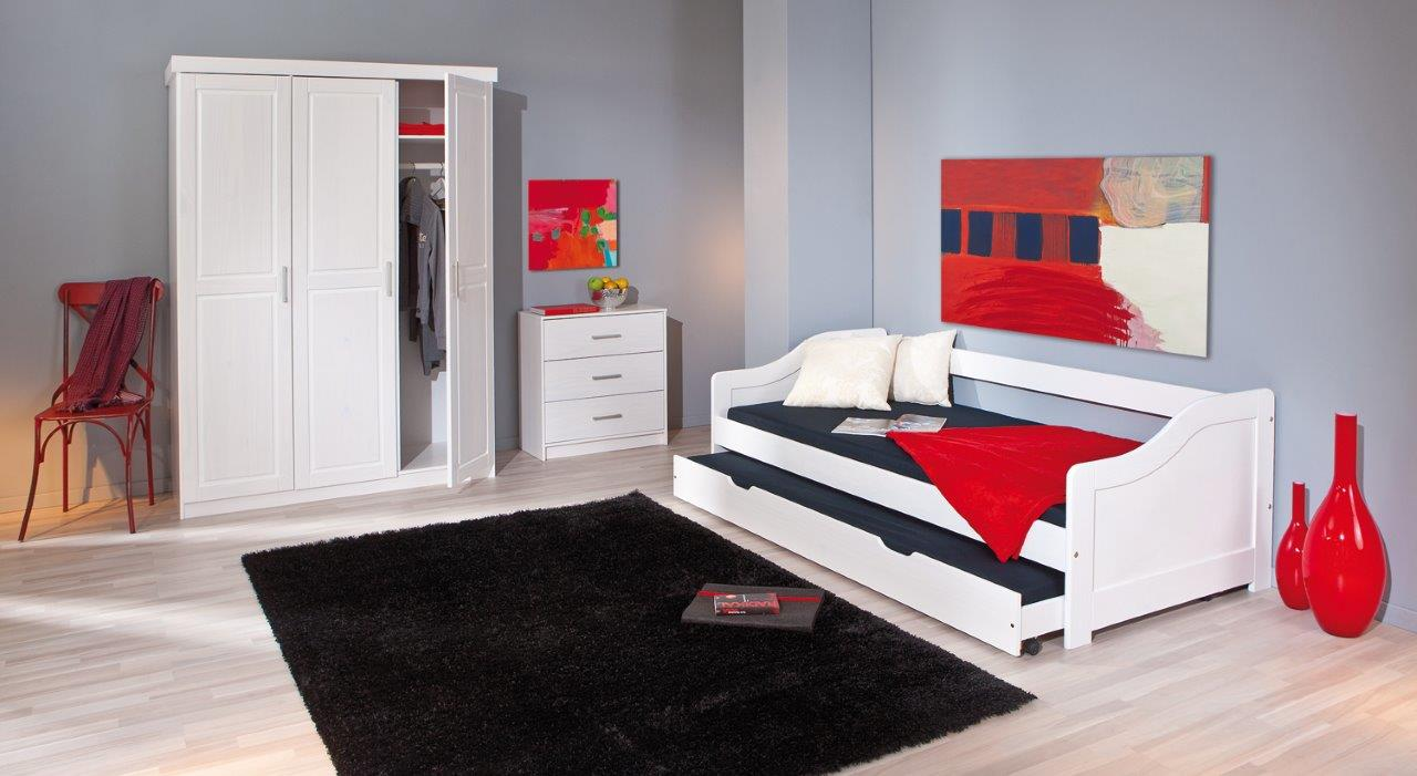 kinderbett sofabett leonie 90 x 200 kiefer massivholz wei. Black Bedroom Furniture Sets. Home Design Ideas