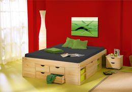 Funktionsbett Jugendbett Claas 140 x 200 Kiefer massiv natur lackiert
