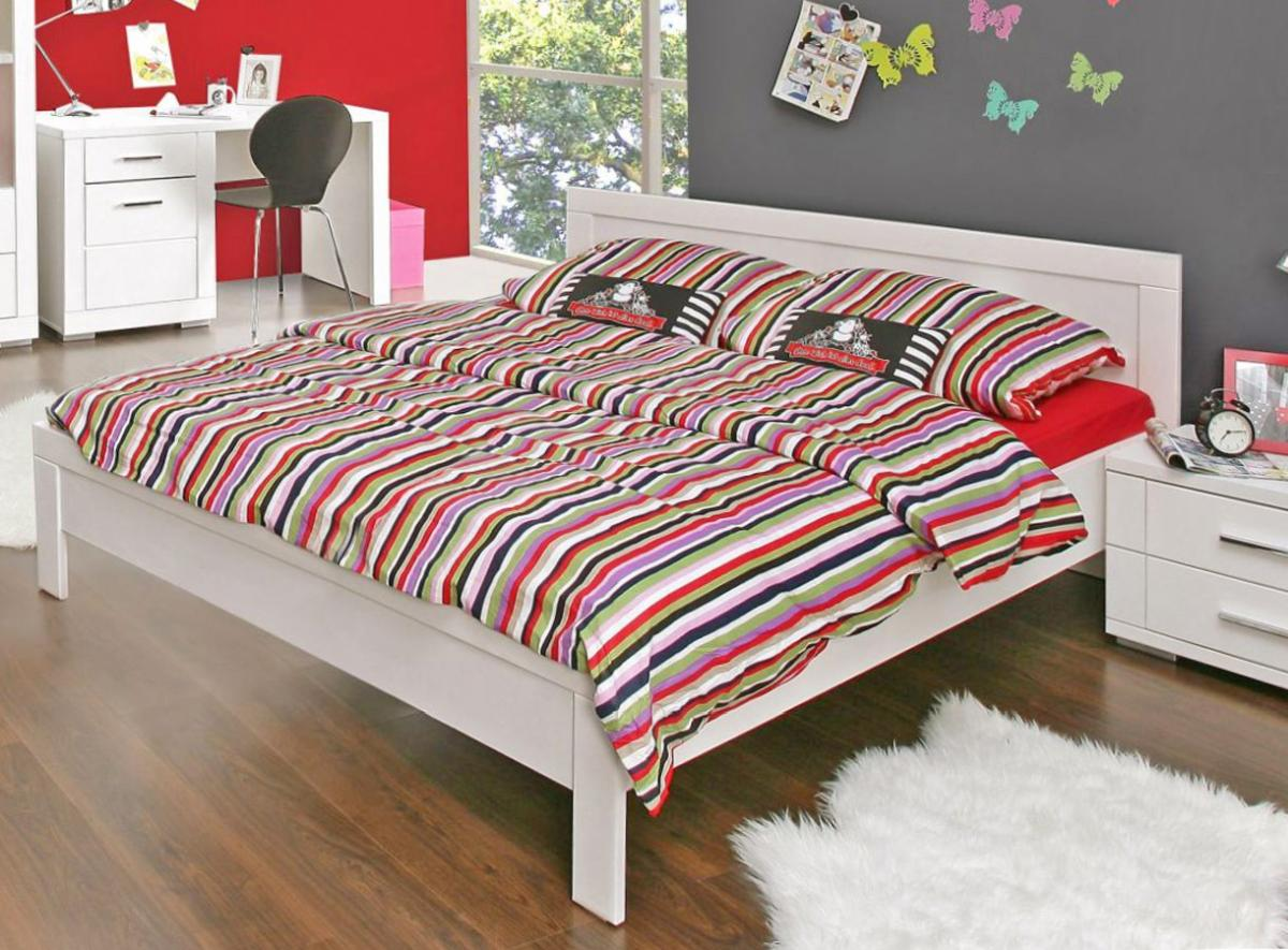 jugendbett snow bett 140 x 200 cm einzelbett in wei matt von forte ebay. Black Bedroom Furniture Sets. Home Design Ideas