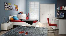 Jugendzimmer SNOW Komplett-Set 6-tlg. Bett 90 cm Weiß