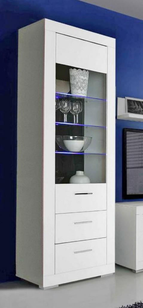 vitrine snow schrank 1 glast r 2 schubladen wei matt led. Black Bedroom Furniture Sets. Home Design Ideas
