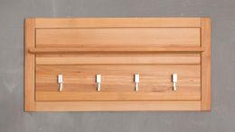 Garderobenpaneel Genf klein - Kernbuche Massivholz geölt/gewachst