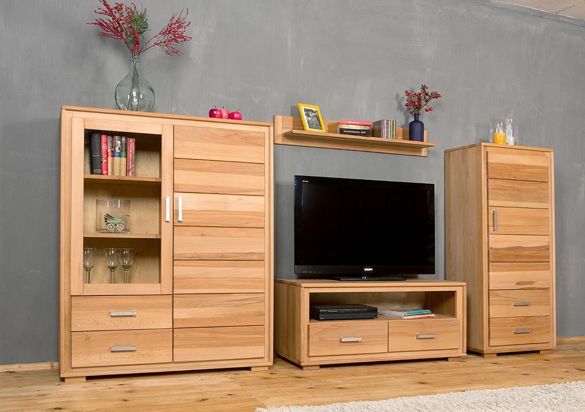 wohnwand genf set iv kernbuche massivholz ge lt gewachst 4. Black Bedroom Furniture Sets. Home Design Ideas