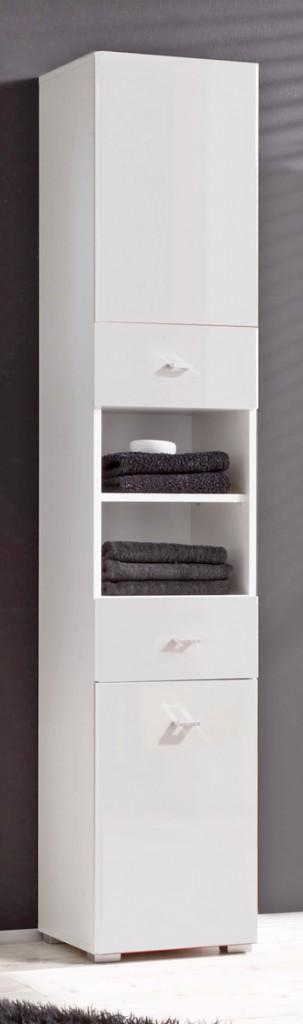 badezimmer hochschrank barolo seitenschrank mit 2 t ren dekor wei ebay. Black Bedroom Furniture Sets. Home Design Ideas