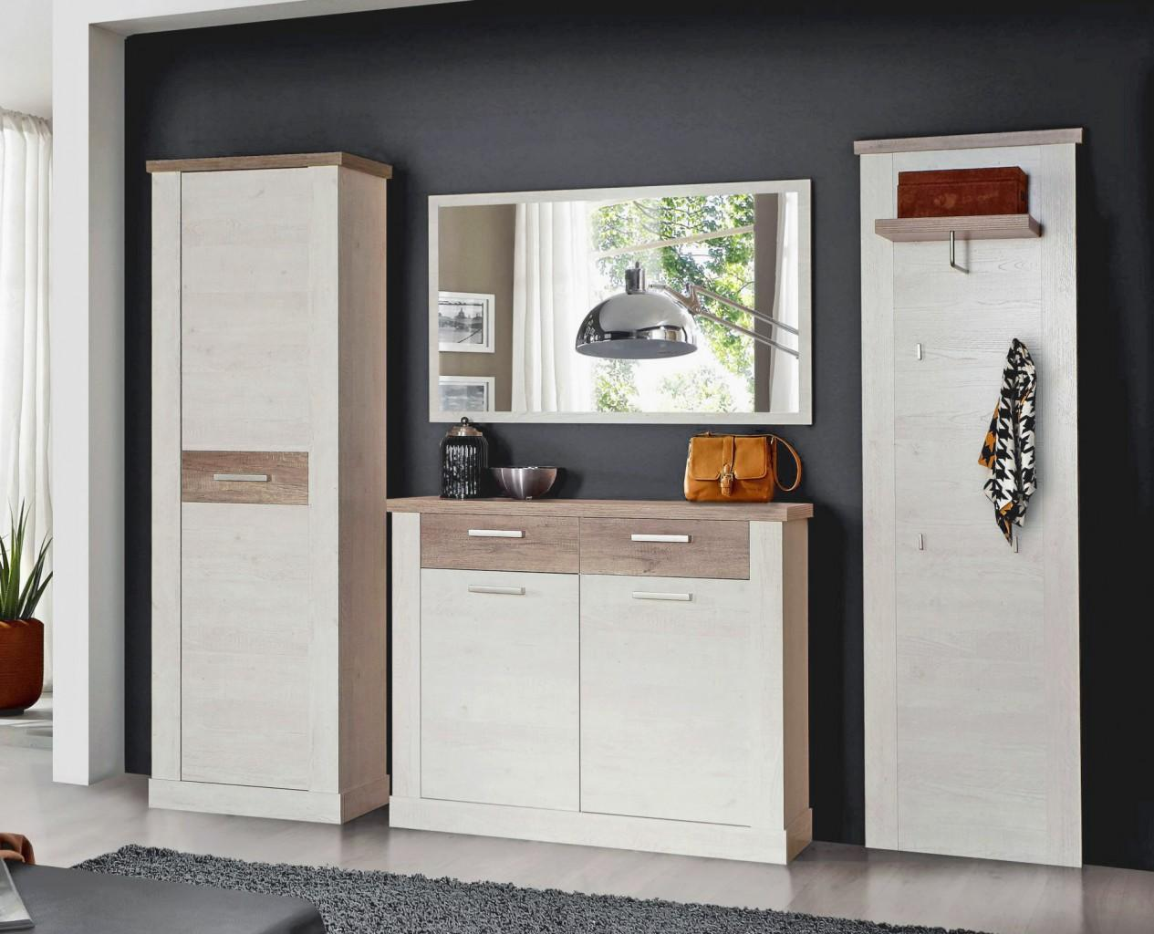garderobe duro 4 tlg komplett set pinie wei absetzungen. Black Bedroom Furniture Sets. Home Design Ideas