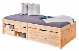 kinderbett sofabett leonie 90 x 200 kiefer massivholz wei. Black Bedroom Furniture Sets. Home Design Ideas