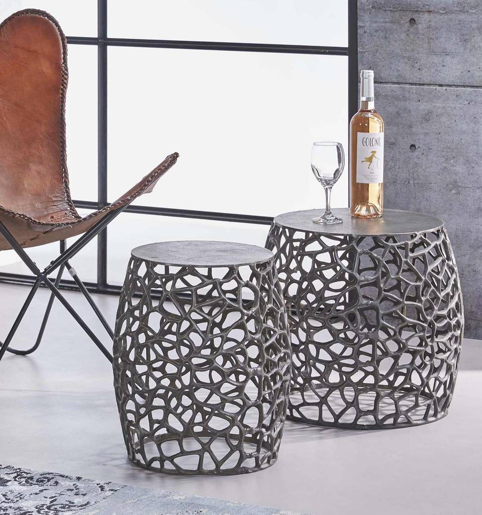 hocker beistelltisch set maze aluminium black nickel. Black Bedroom Furniture Sets. Home Design Ideas