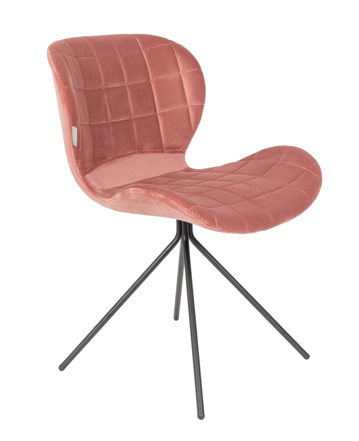 esszimmerstuhl omg velvet samt rosa von zuiver. Black Bedroom Furniture Sets. Home Design Ideas