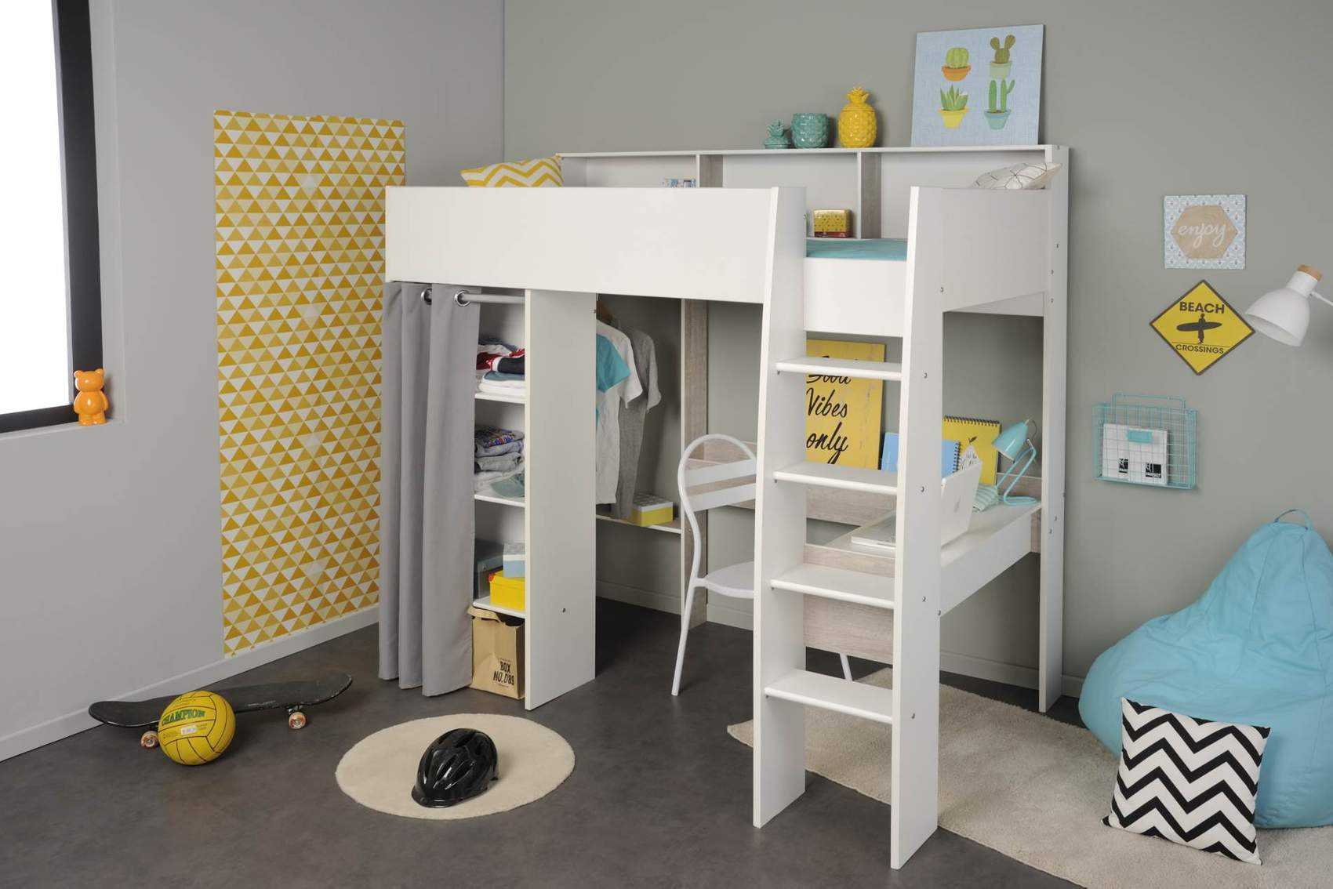 hochbett mit schreibtisch und kleiderschrank taylor 11 von. Black Bedroom Furniture Sets. Home Design Ideas
