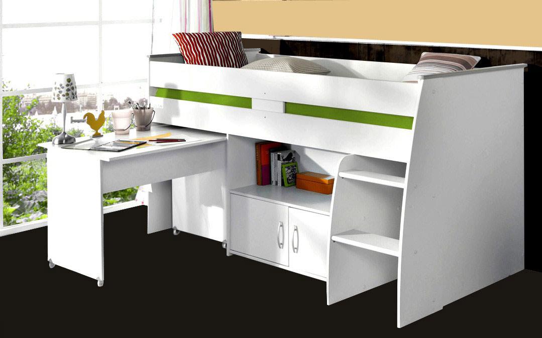 hochbett mit schreibtisch und kommode reverse 1 wei von. Black Bedroom Furniture Sets. Home Design Ideas